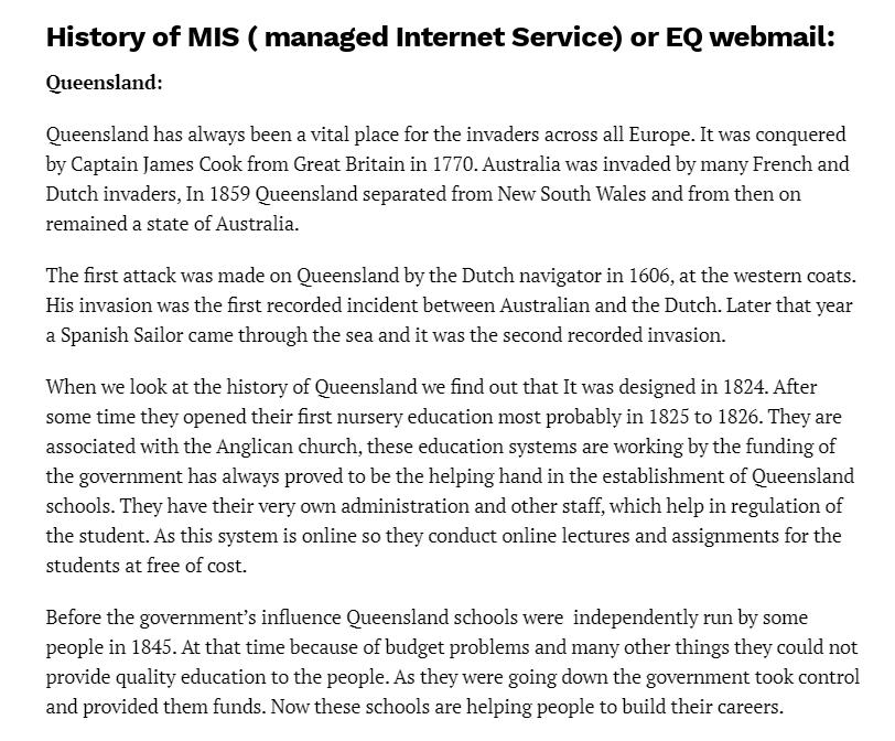 Mis webmail - History